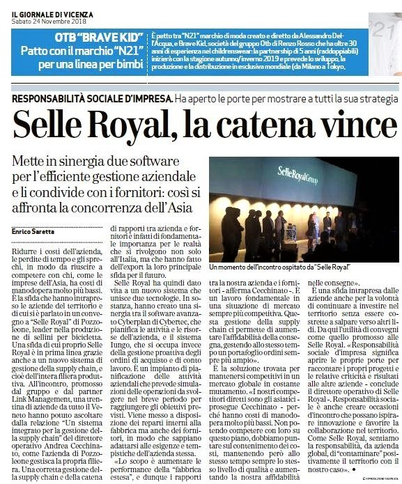 Il Giornale di Vicenza - Selle Royal La Catena Vince